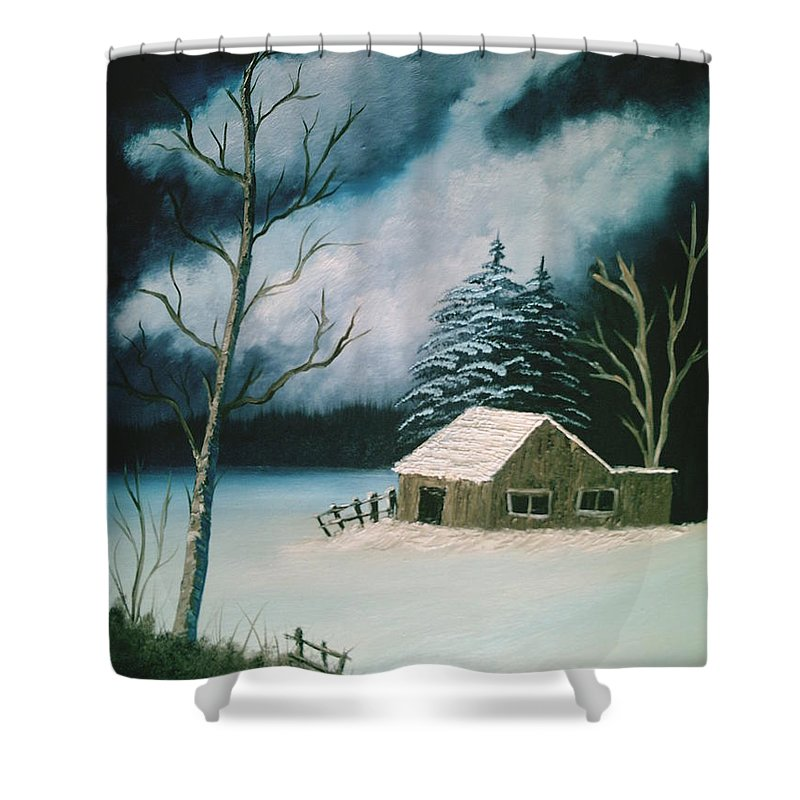 Winter Landscape Shower Curtain featuring the painting Winter Solitude by Jim Saltis