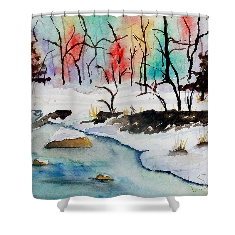 Colors Shower Curtain featuring the painting Winter Stream by Jimmy Smith