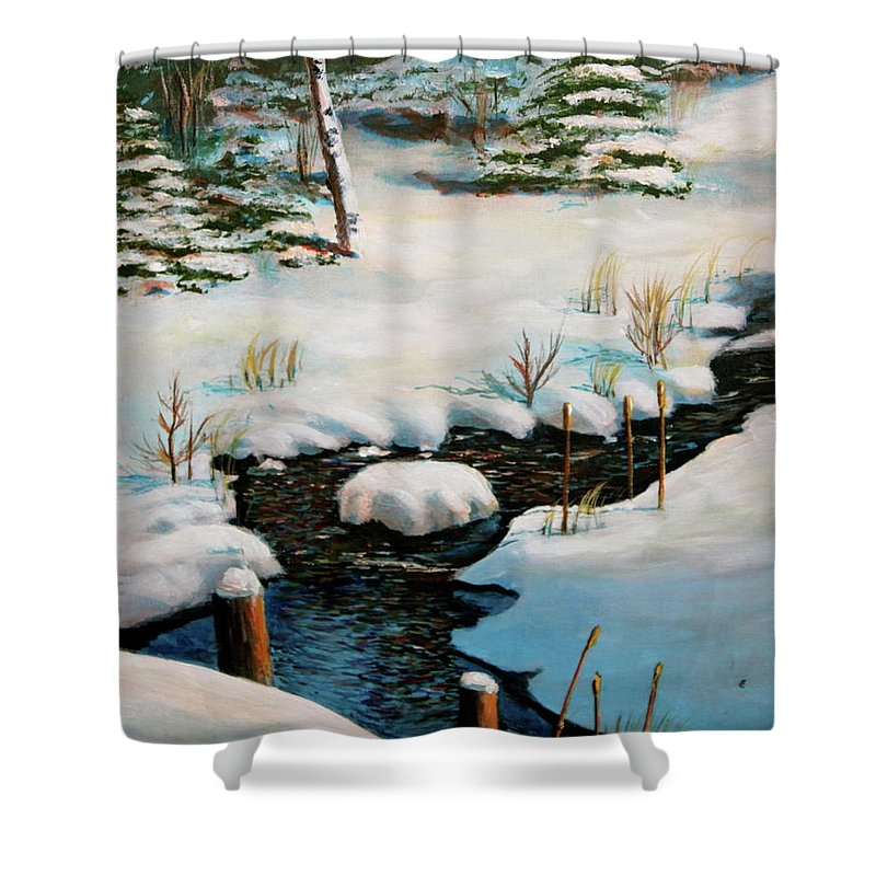 Winter Shower Curtain featuring the painting Winter Stream by Lorraine Vatcher