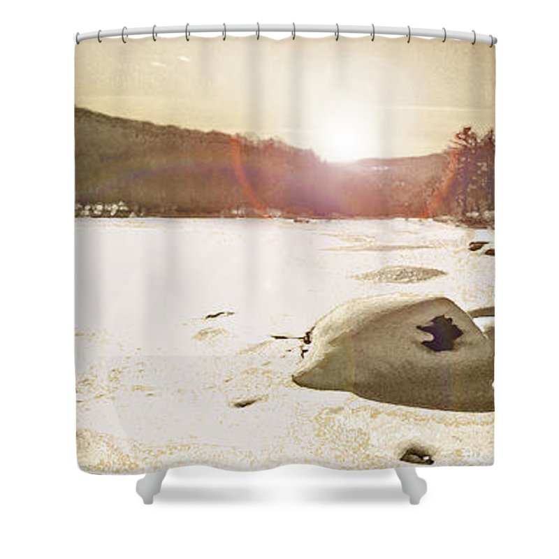 Landscape Shower Curtain featuring the photograph Winter Sun by Steve Karol