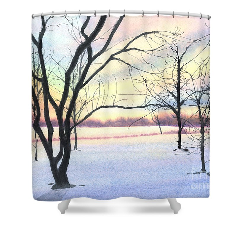 Sunrise Shower Curtain featuring the painting Winter Sunrise by Lynn Quinn