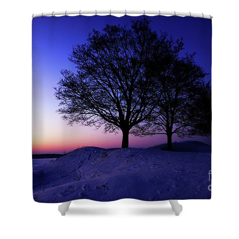 Winter Shower Curtain featuring the photograph Winter Sunset by Hannes Cmarits