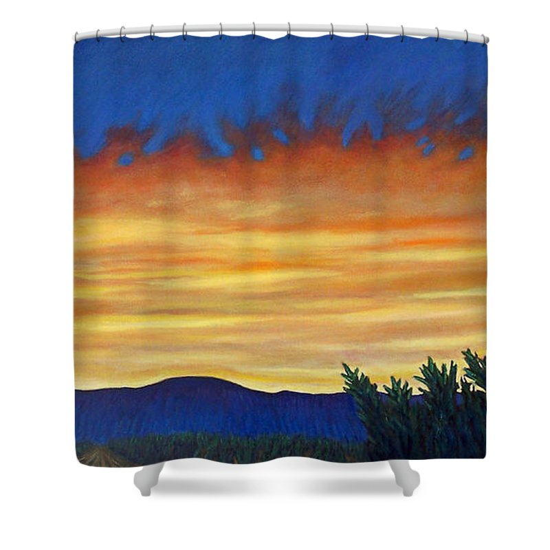 Sunset Shower Curtain featuring the painting Winter Sunset In El Dorado by Brian Commerford