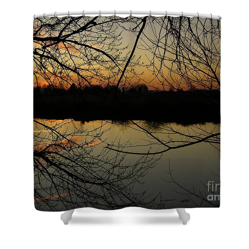 Sunset Shower Curtain featuring the photograph Winter Sunset Reflection by Carol Groenen