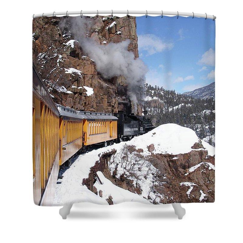 Train Shower Curtain featuring the photograph Winter Train Durango Silverton Colorado by Carol Milisen
