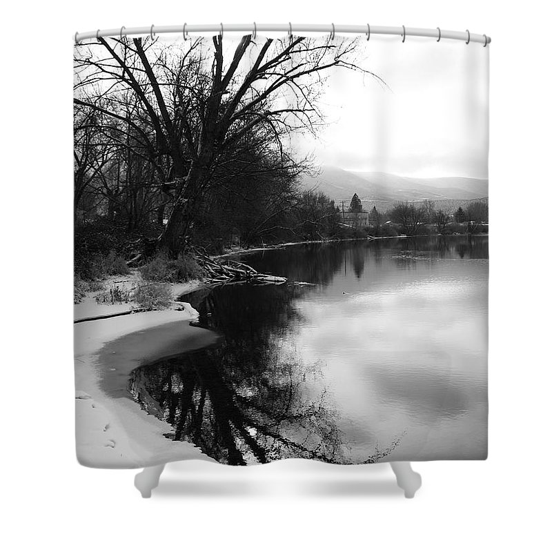 Black And White Shower Curtain featuring the photograph Winter Tree Reflection - Black and White by Carol Groenen