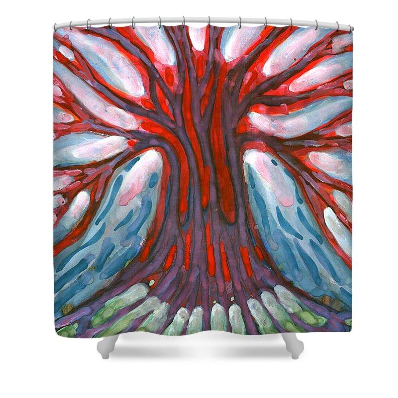 Colour Shower Curtain featuring the painting Winter Tree by Wojtek Kowalski