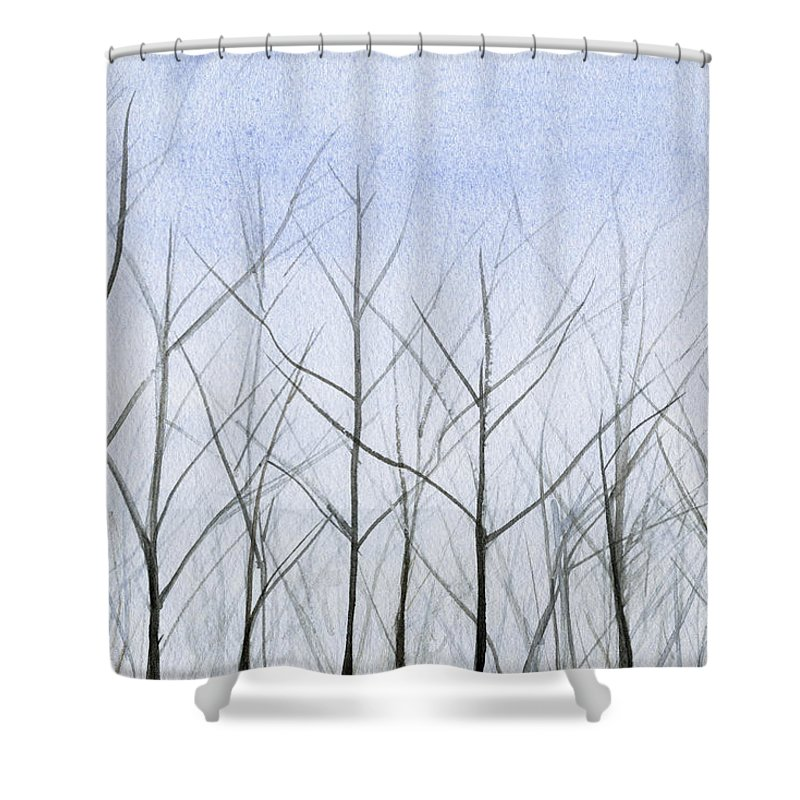 Landscape Shower Curtain Featuring The Painting Winter Trees By Beverly Brown