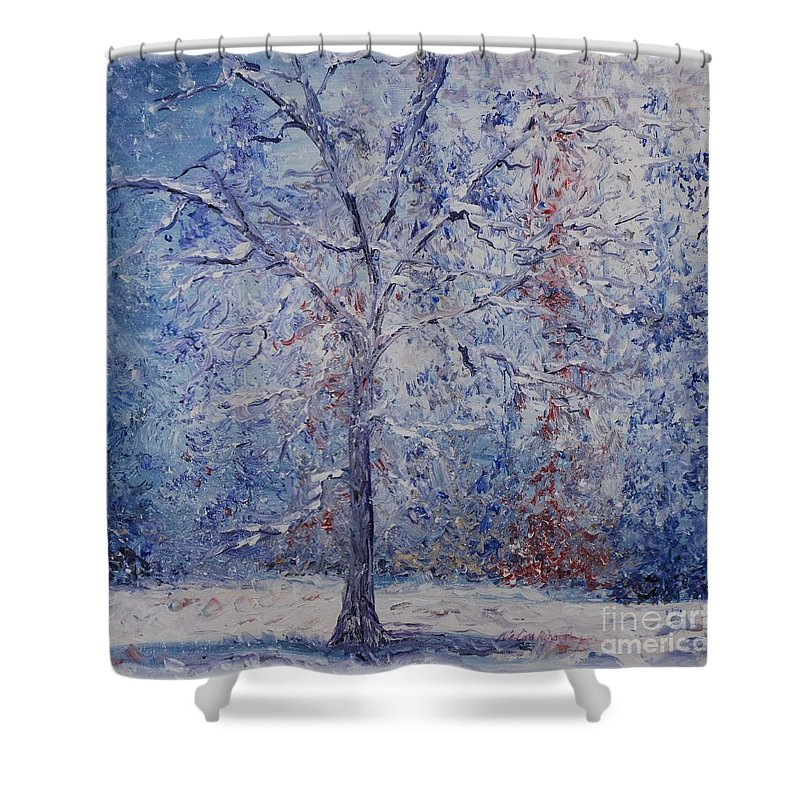 Winter Shower Curtain featuring the painting Winter Trees by Nadine Rippelmeyer
