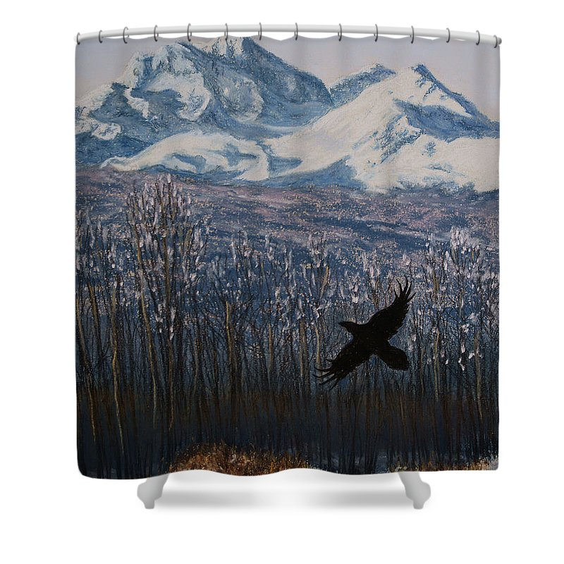 Canada Shower Curtain featuring the painting Winter Valley Raven by Stanza Widen