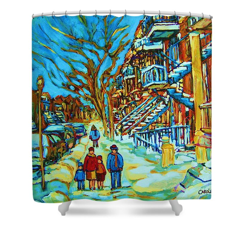 Winterscenes Shower Curtain featuring the painting Winter Walk In The City by Carole Spandau