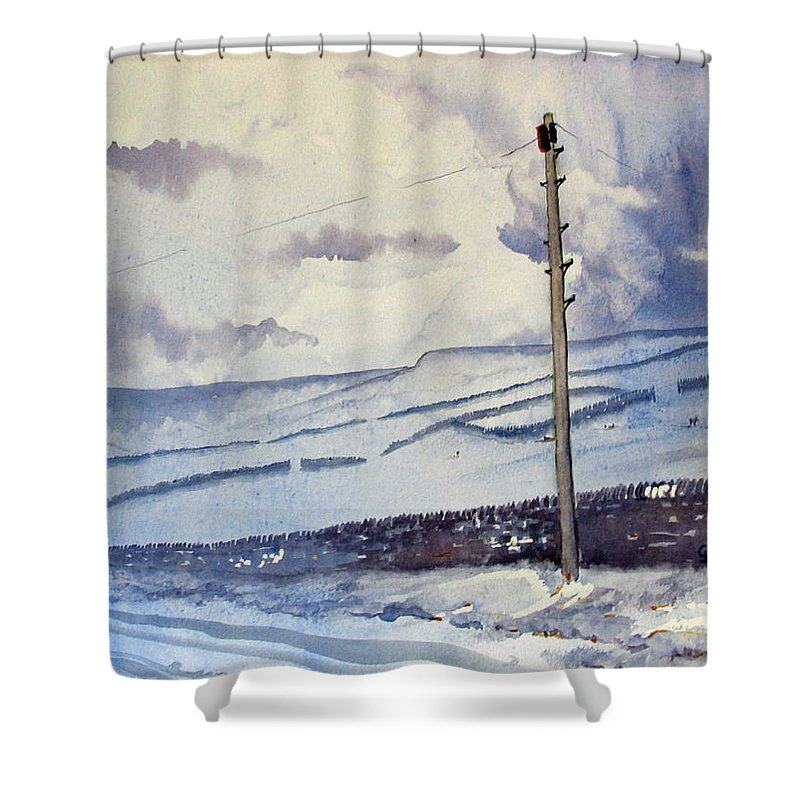 Glenn Marshall Yorkshire Artist Shower Curtain featuring the painting Winter Walkers by Glenn Marshall