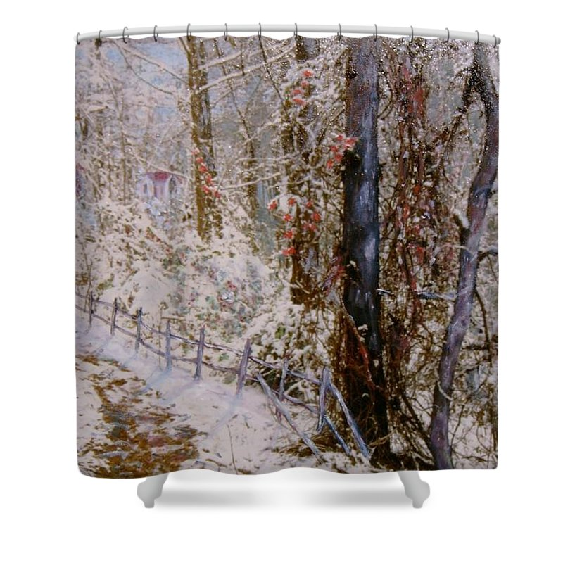 Snow; Trees Shower Curtain featuring the painting Winter Wonderland by Ben Kiger