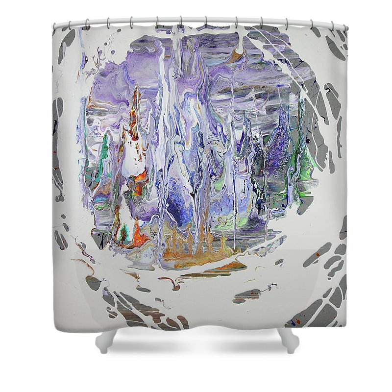 Ice Shower Curtain featuring the painting Ice Castle by Madeleine Arnett
