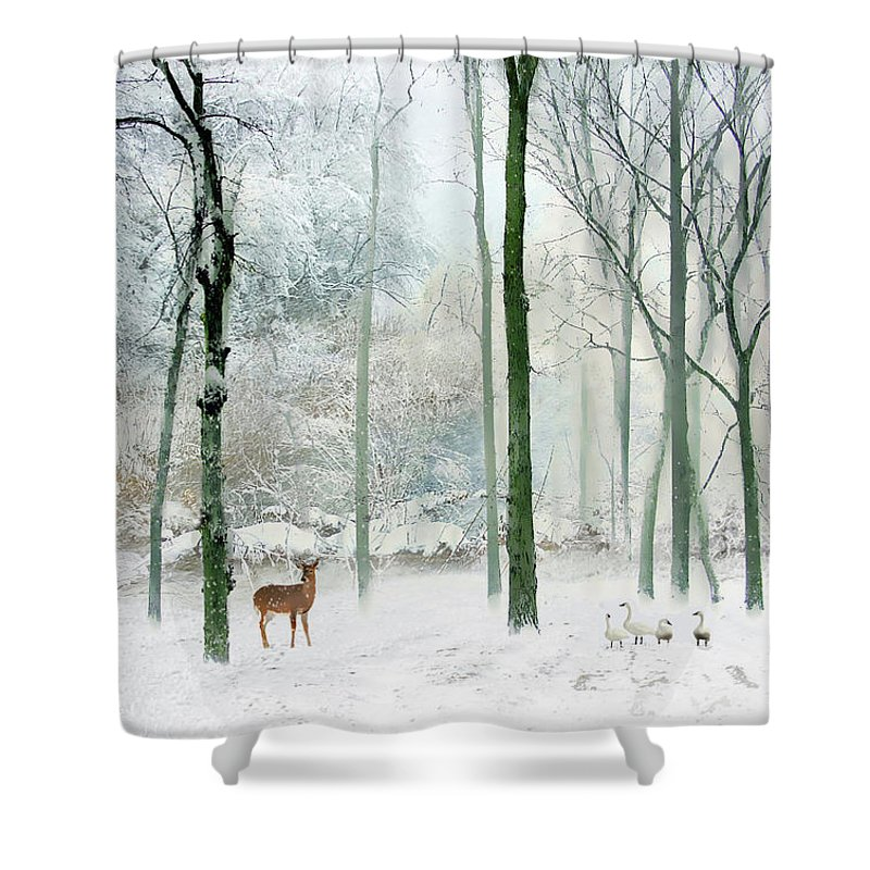 Winter Shower Curtain Featuring The Photograph Woodland By Jessica Jenney