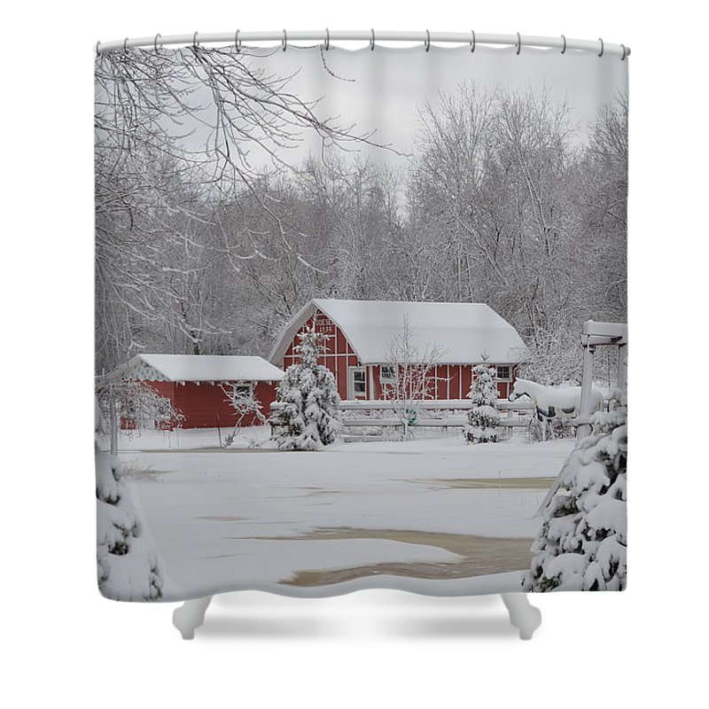 Snow Shower Curtain featuring the photograph Winter's Beauty by Laurie Glowacki