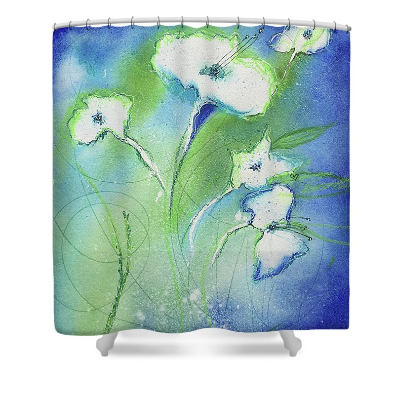 Watercolor Shower Curtain featuring the painting Winter's Burst by Elisabeth Stavinoha