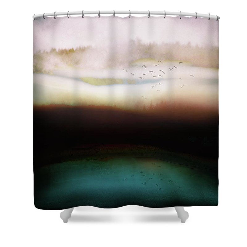 Abstract Shower Curtain featuring the digital art Winters Day by Katherine Smit
