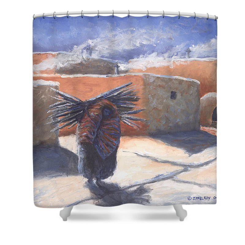Adobe Shower Curtain featuring the painting Winter's Work by Jerry McElroy