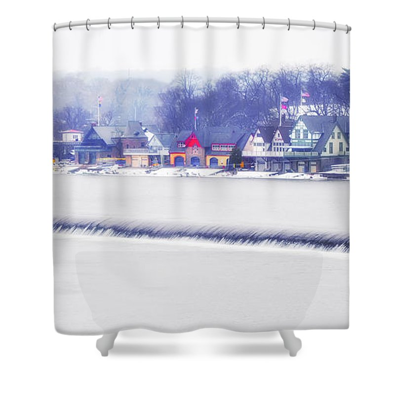 Wintertime Shower Curtain featuring the photograph Wintertime At The Fairmount Dam And Boathouse Row by Bill Cannon