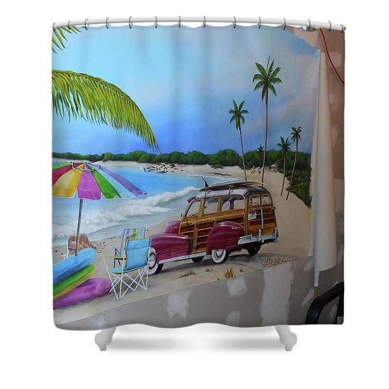 Shower Curtain featuring the painting Wip 03- Tyler's Room by Cindy D Chinn