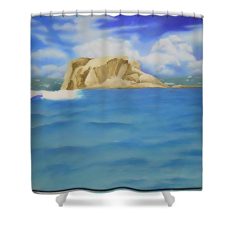 Shower Curtain featuring the painting Wip- Creole Rock 01 by Cindy D Chinn