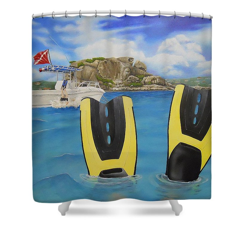 Shower Curtain featuring the painting Wip- Creole Rock 03 by Cindy D Chinn