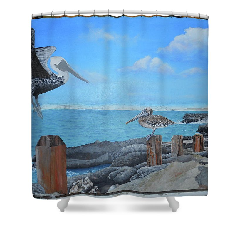 Shower Curtain featuring the painting Wip- Pelican 03 by Cindy D Chinn