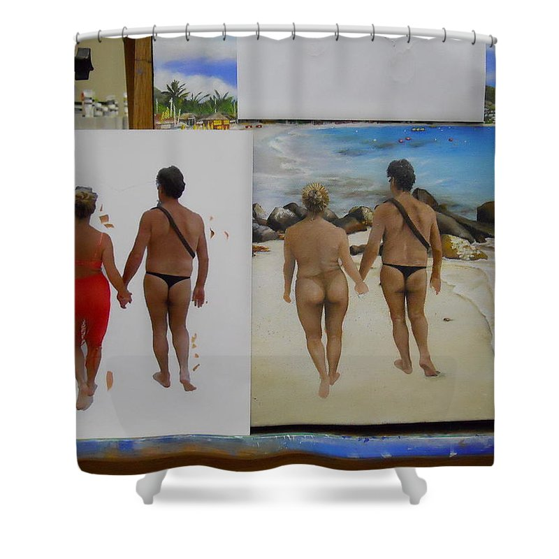 Shower Curtain featuring the painting Wip- Russ And Lloy by Cindy D Chinn