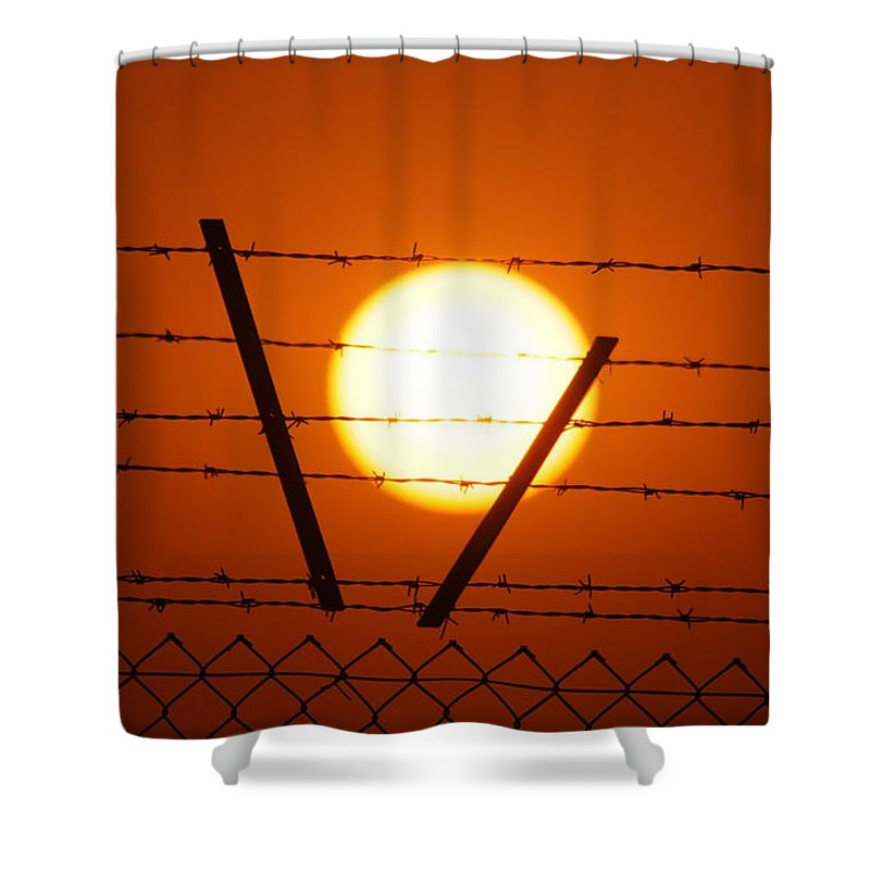 Sun Shower Curtain featuring the photograph Wire And Sun by Cliff Norton