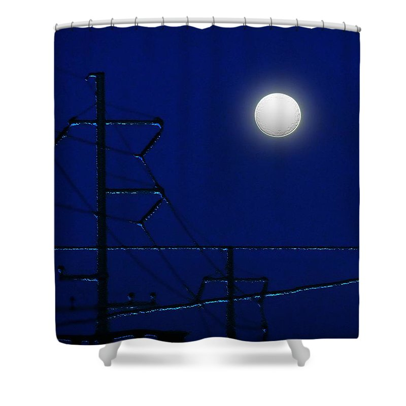 Moon Shower Curtain featuring the painting Wired Moon by RC DeWinter