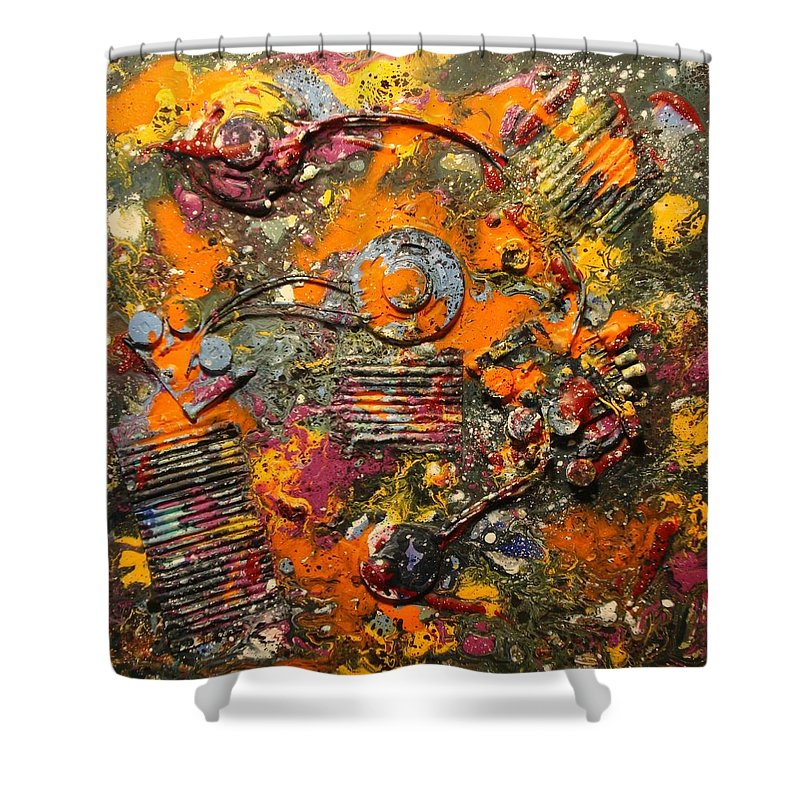 Abstract Shower Curtain featuring the painting Wired by Natalie Holland