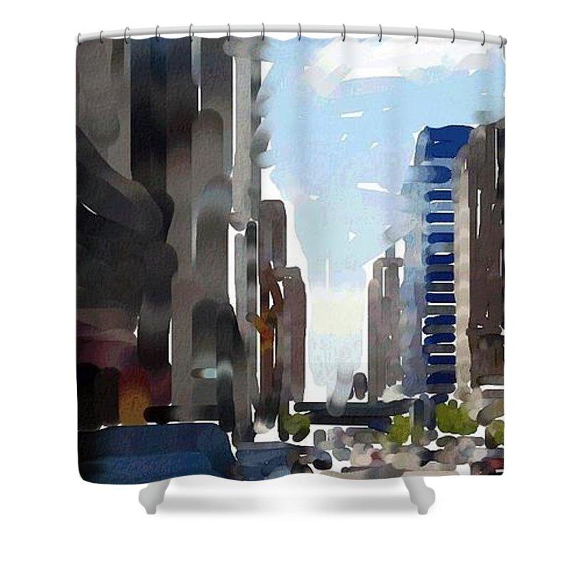 Milwaukee Shower Curtain featuring the digital art Wisconsin Ave 3 by Anita Burgermeister