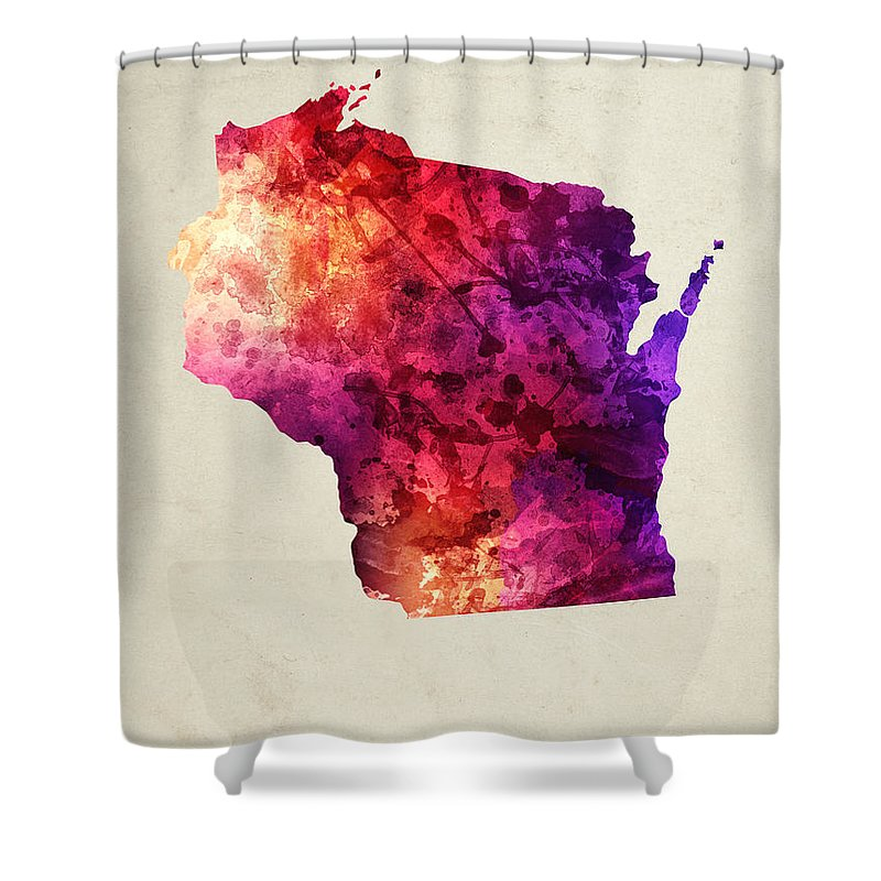 Wisconsin Shower Curtain featuring the painting Wisconsin State Map 05 by Aged Pixel