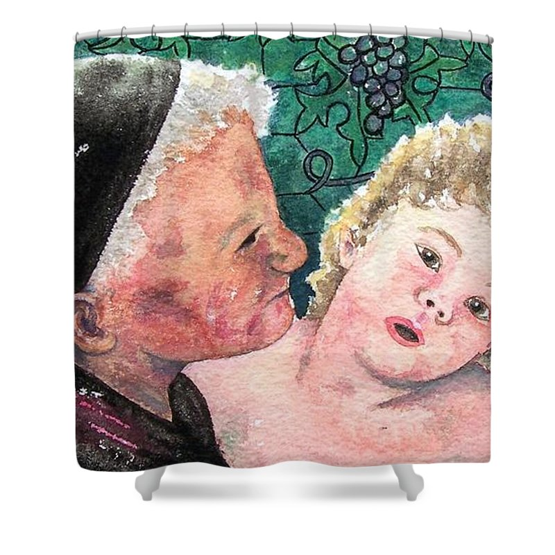Child Shower Curtain featuring the painting Wisdom And Innocence by Gale Cochran-Smith