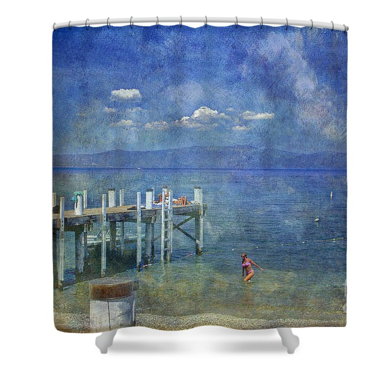 Chambers Landing Lake Tahoe Ca Shower Curtain featuring the photograph Wish You Were Here Chambers Landing Lake Tahoe Ca by David Zanzinger