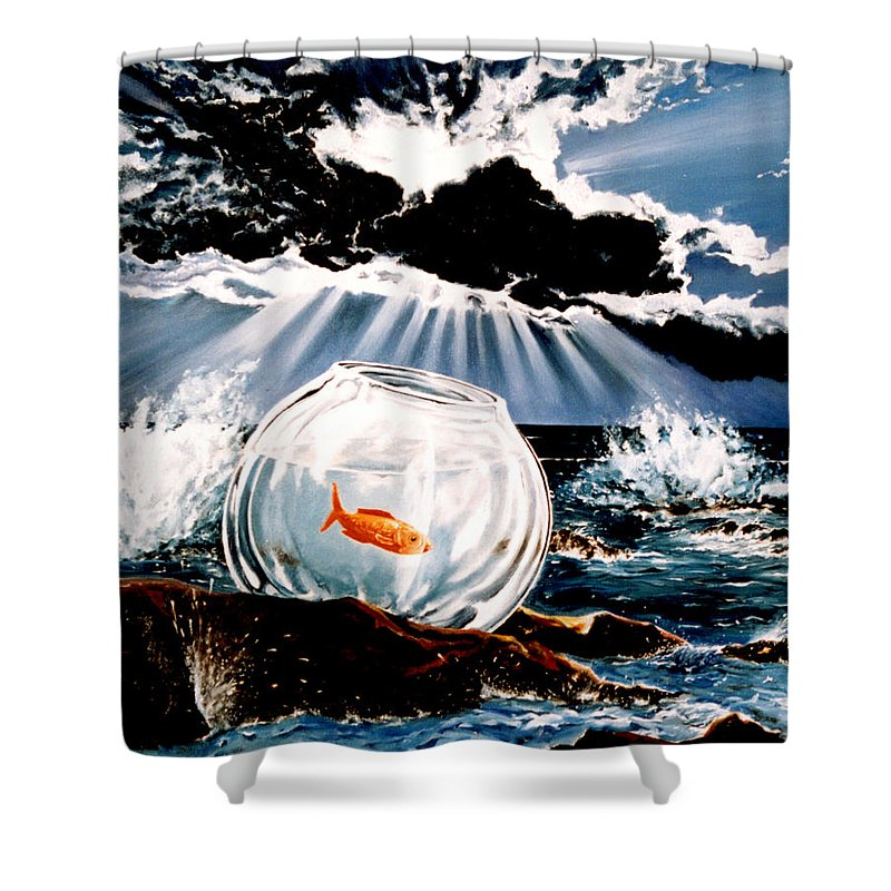 Surreal Shower Curtain featuring the painting Wish You Were Here by Mark Cawood