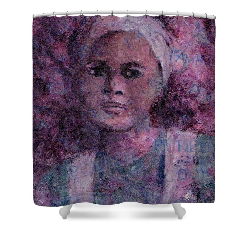 Woman Shower Curtain featuring the mixed media Wishful Thinking by Connie Freid