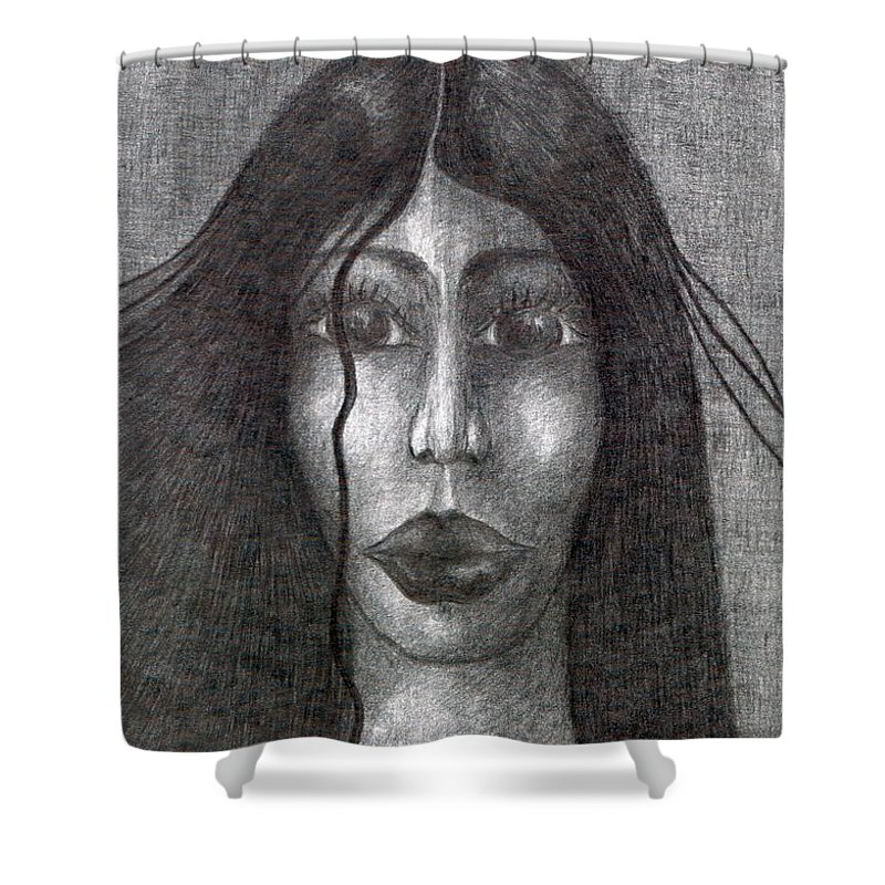 Psychedelic Shower Curtain featuring the drawing Wisp by Wojtek Kowalski