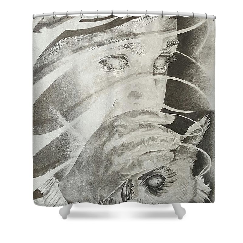 Shower Curtain featuring the drawing Wisper Black Ribbon Collection#2 by Delbert Cobb
