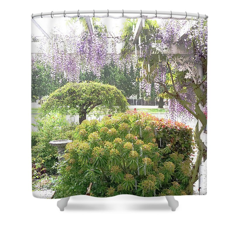 Hail Shower Curtain featuring the photograph Wisteria In Hailstorm by Nareeta Martin
