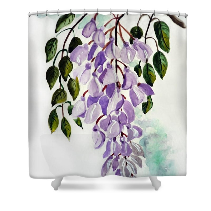 Floral Paintings Flower Paintings Wisteria Paintings Botanical Paintings Flower Purple Paintings Greeting Card Paintings  Shower Curtain featuring the painting Wisteria by Karin Dawn Kelshall- Best