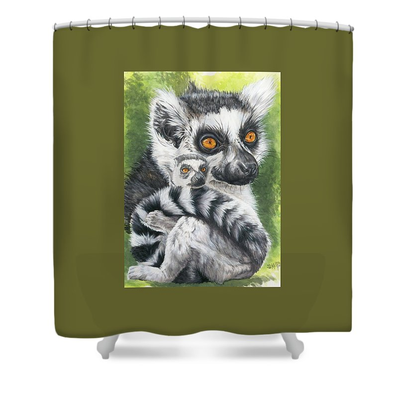 Lemur Shower Curtain featuring the mixed media Wistful by Barbara Keith