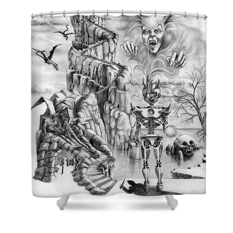 Witch Shower Curtain featuring the drawing Witch Hunter by Murphy Elliott