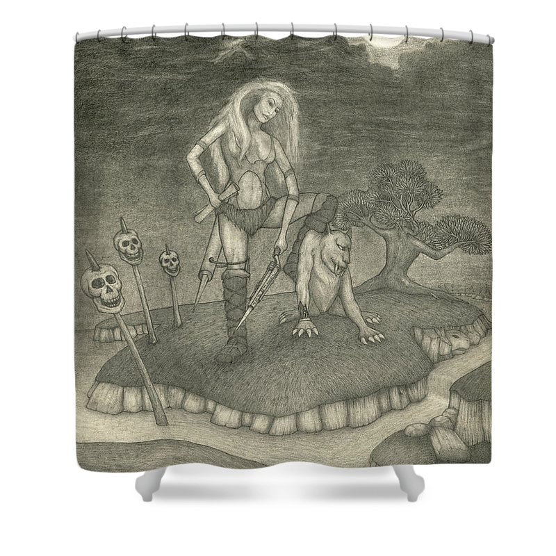 Fantasy Art Shower Curtain featuring the drawing Witch Woman by Michael Highsmith