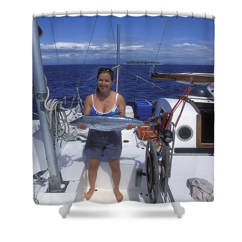 Digitally Altered Photography Shower Curtain featuring the photograph With A Spanish Mackerel Walu Caught by Rich Reid
