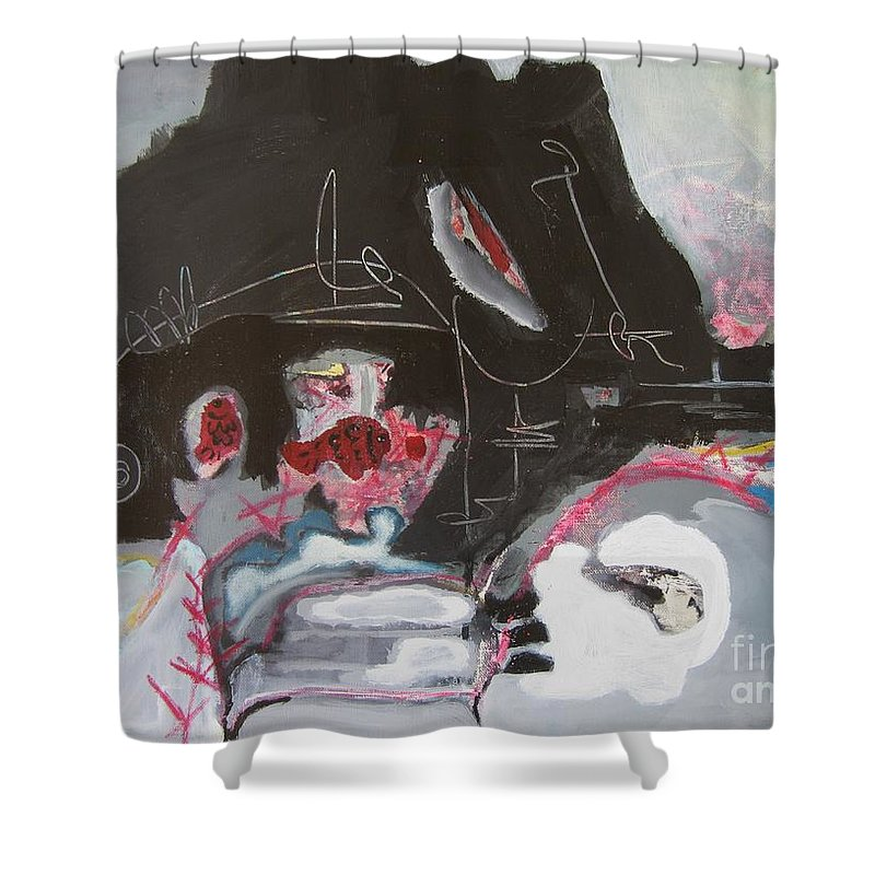Abstract Paintings Shower Curtain featuring the painting With Little Escape From Life by Seon-Jeong Kim