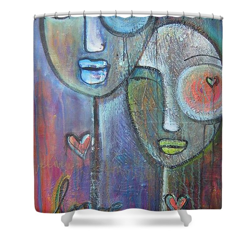 Love Shower Curtain featuring the painting With Love On Our Wings by Laurie Maves ART