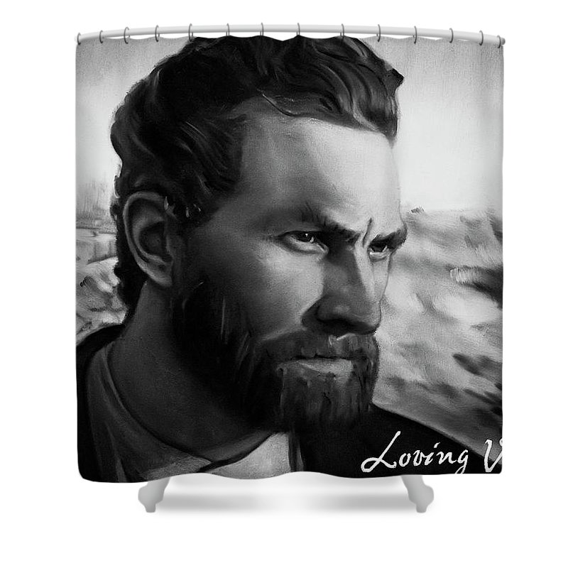 Shower Curtain featuring the painting With Theo support - there is no stopping him by Agata Smolska