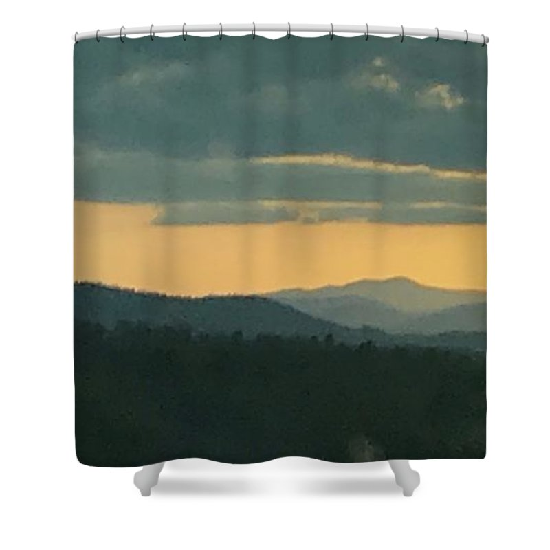 Black Mountain Range Shower Curtain featuring the photograph Wnc Sunsets by Maria Wagner